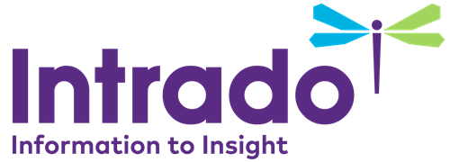 "Intrado logo, says ""Intrado Information to Insight"""