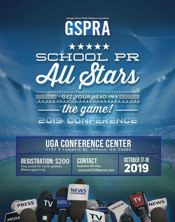 Image of flyer of GSPRA 2019 Conference, October 17-18, 2019, UGA Conference Center, Registration $200, suzanne3183@gmail.com
